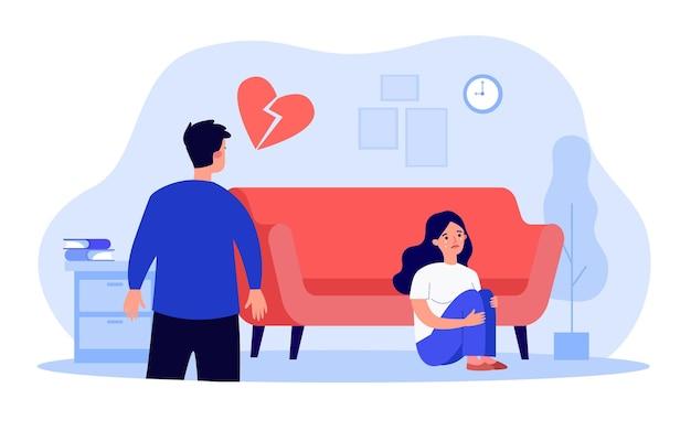 Kobieta siedzi na podłodze ze złamanym sercem i płacze. konflikt nieszczęśliwej pary ilustracji wektorowych płaski. koniec miłości i związku, koncepcja rozwodu na baner, projekt strony internetowej lub stronę docelową