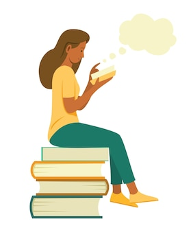 Kobieta siedzi na stosie dużych książek, aby przeczytać książkę i wymyślić dobry pomysł.