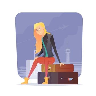 Kobieta siedzi na walizkach na lotnisku. podróżnik młodej dziewczyny. przygodowa wycieczka. letni wypoczynek. dookoła świata. styl kreskówkowy. ilustracja.
