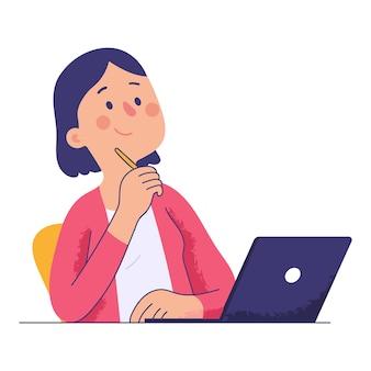 Kobieta siedzi przy biurku trzymając długopis podczas myślenia