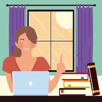 Kobieta siedzi przy biurku w pokoju, patrząc na ekran komputera, pracy w domu ilustracji