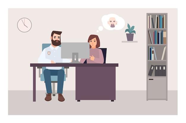 Kobieta siedzi przy biurku z policjantem, patrząc na ekran komputera i próbuje zidentyfikować przestępcę na podstawie zdjęcia. ofiara przestępstwa na posterunku policji. płaskie postaci z kreskówek. ilustracja wektorowa kolorowe.