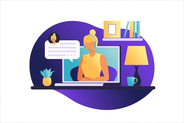 Kobieta siedzi przy stole z laptopem. praca na komputerze. freelance, koncepcja edukacji online lub mediów społecznościowych. praca w domu, praca zdalna. płaski styl. ilustracji wektorowych.