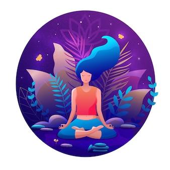 Kobieta siedzi w pozycji lotosu praktykując medytację. joga dziewczyna wektor modny ilustracja.