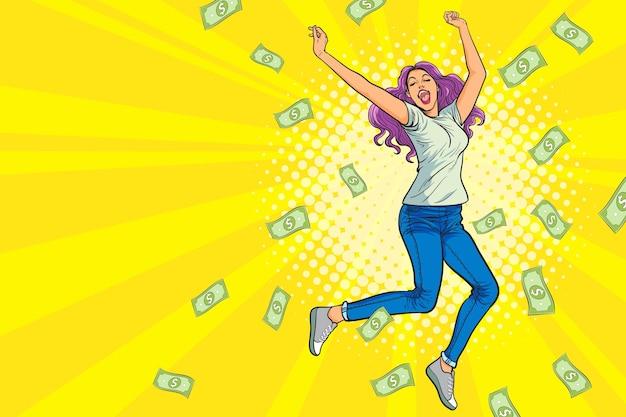 Kobieta skacząca szczęśliwa zaskoczona spadającymi pieniędzmi w stylu retro komiks pop-art