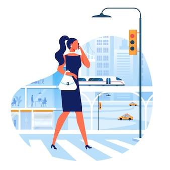 Kobieta skrzyżowania ulicy płaski wektorowego