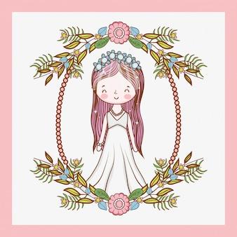 Kobieta ślub z ramą i roślin pozostawia