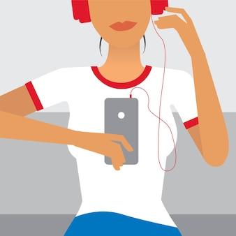 Kobieta słucha muzyczna ilustracja