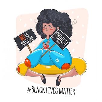Kobieta smutna, wspierająca ruch czarnych żyć, ilustrowana