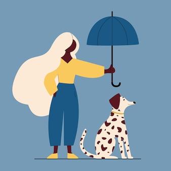Kobieta spaceru z psem na ulicy. ilustracja wektorowa kolorowy płaski kreskówka.