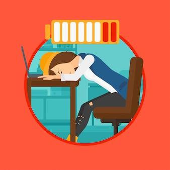 Kobieta śpi w miejscu pracy.