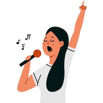 Kobieta śpiewa do mikrofonu na białym tle