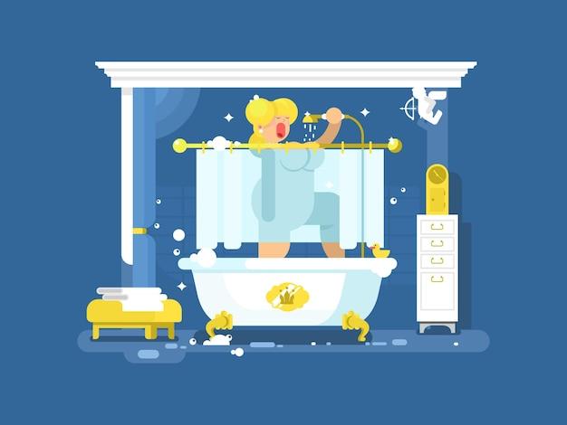 Kobieta śpiewa pod prysznicem. pielęgnacja i sztuka w łazience, piękna uroda, kąpiel relaksująca, ilustracja