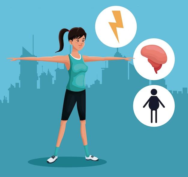 Kobieta sportów ćwiczenia zdrowy miastowy tło