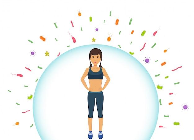 Kobieta sportowa odzwierciedla bakterie. ochrona układu odpornościowego przed złymi bakteriami. bariera przed wirusami.