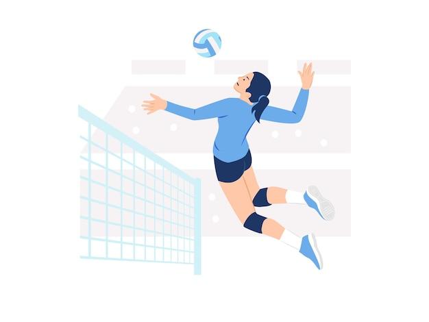 Kobieta sportowiec sportsmenka gracz siatkówki skoki i gotowy do rozbicia ilustracji koncepcji siatkówki