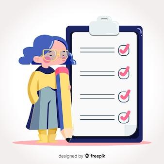 Kobieta sprawdza gigantyczną listę kontrolną