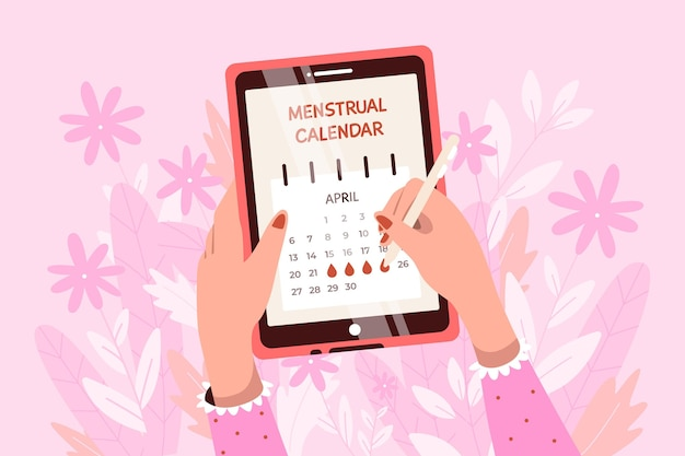 Kobieta sprawdza swój kalendarz menstruacyjny