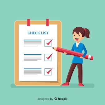 Kobieta sprawdzanie listy lista lista gigant