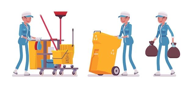 Kobieta sprzątaczka sprzątanie, wynoszenie śmieci