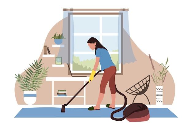 Kobieta sprzątająca i odkurzająca pokój w stylu płaski.