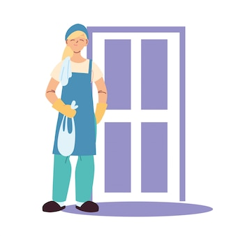 Kobieta sprzątająca robi sprzątanie domu