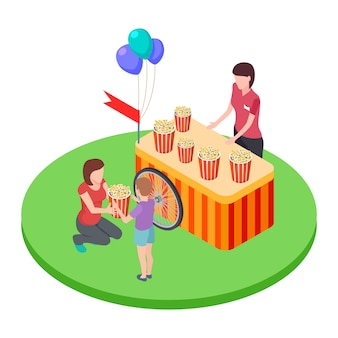 Kobieta sprzedająca popcorn w parku, daje chłopcu koszyk popcornu w rzucie izometrycznym