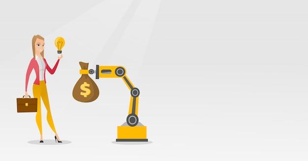 Kobieta sprzedaje pomysł inżynierii robota