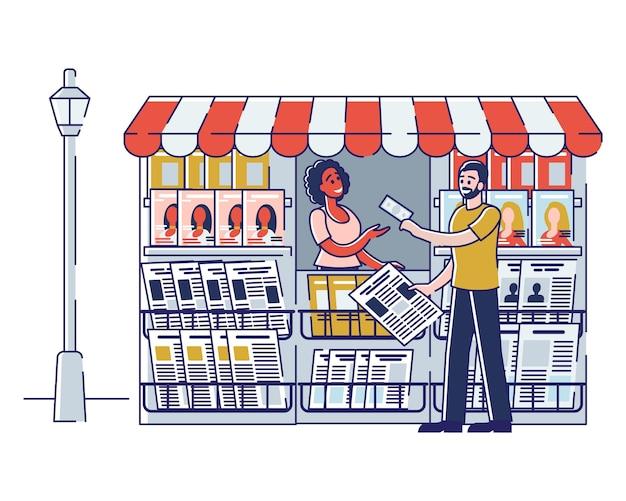 Kobieta Sprzedawca Sprzedaje Gazety I Czasopisma Premium Wektorów