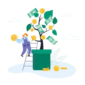 Kobieta stanąć na drabinie do drzewa pieniędzy