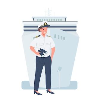 Kobieta statek kapitan płaski kolor szczegółowy charakter. równość płci w miejscu pracy. wesoła pani pracująca jako żeglarz ilustracja kreskówka na białym tle do projektowania grafiki internetowej i animacji