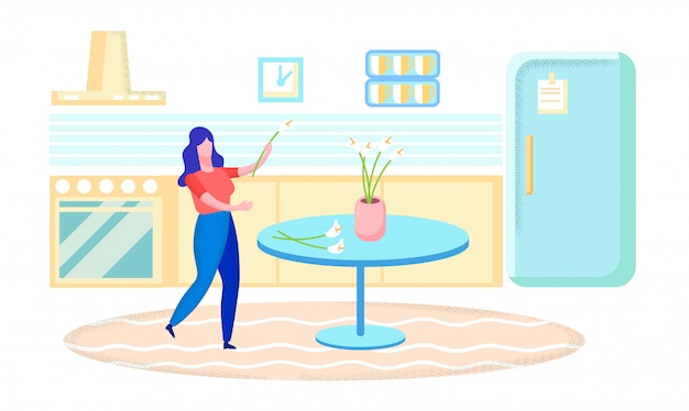 Kobieta stawia kwiaty w wazonie, domowa ilustracja