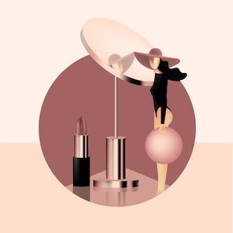 Kobieta stoi blisko dużego różowego złota lustra