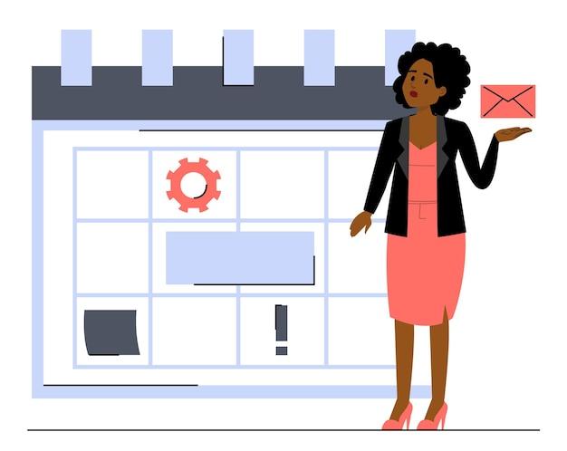 Kobieta stojąc na wielkim wektorze kalendarza na białym tle. koncepcja zarządzania czasem i planowania dnia pracy. planista tygodniowy i miesięczny, afroamerykanin budujący harmonogram.