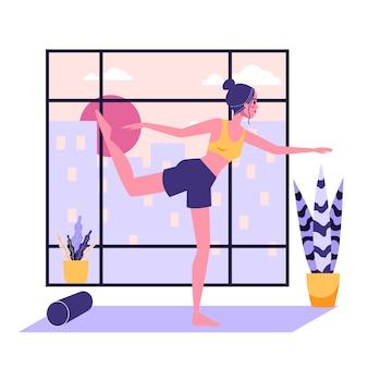 Kobieta stojąca w pozie jogi. ćwiczenia rozciągające dla zdrowia ciała i relaksu. ilustracja w stylu kreskówki