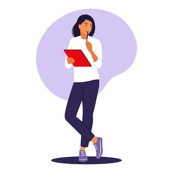Kobieta stojąca z folderem. pracownik biurowy lub koncepcja pracy zdalnej. ilustracja wektorowa. mieszkanie.