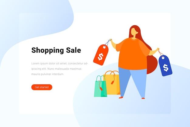 Kobieta stojąca z ilustracjami torby na zakupy. szablon projektu strony docelowej.