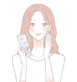 Kobieta stosując krem z filtrem przeciwsłonecznym. na białym tle.