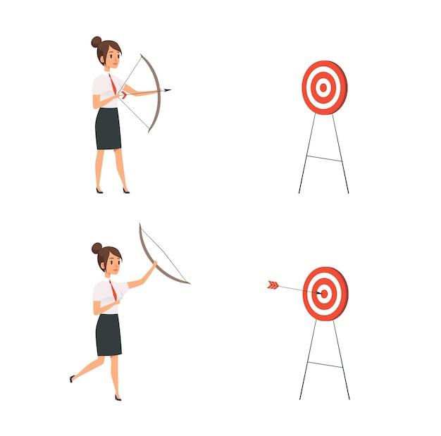 Kobieta strzelanie do celu. biznes pani wygrać, kierownik trzyma łuk i strzały. dziewczyna hit koncepcja wektor gola. ilustracja celowanie i skupianie się, strzelanie do kobiety robotniczej