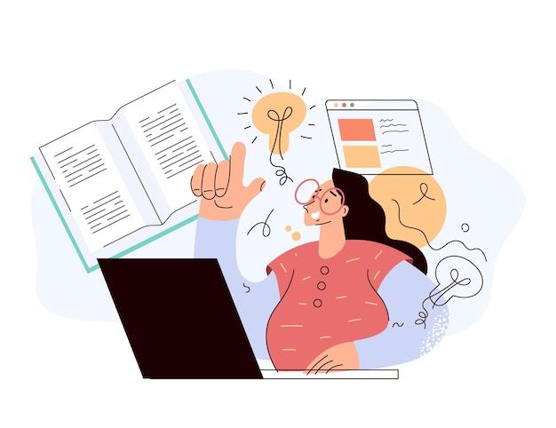 Kobieta student postać czytania książki online i uczenia się