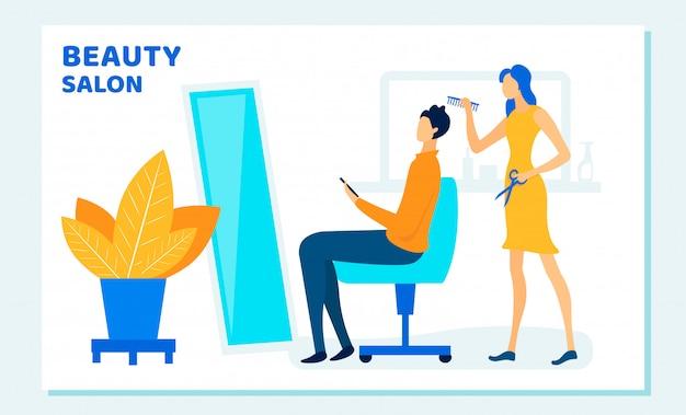 Kobieta stylista cięcia klientów włosów w salonie piękności