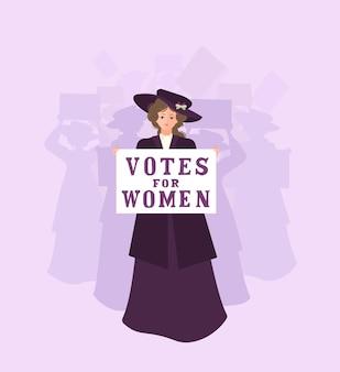 """Kobieta sufrażystka w płaszczu i kapeluszu prowadzi tłum z plakatem """"prawa dla kobiet"""" z lat 20. xx wieku. wstążka jest biała, zielona i fioletowa. solidarność i siła. płaska ilustracja."""