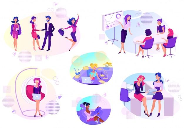 Kobieta sukces w biznesowej karierze, kreskówki ilustracja
