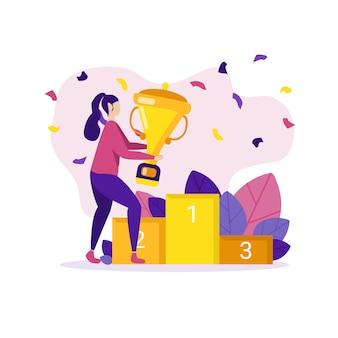 Kobieta sukcesu biznesowego lub prywatnego dostała kartę trofeum