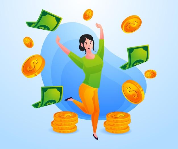 Kobieta sukcesu zarabia dużo pieniędzy