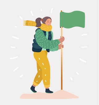 Kobieta sukcesu zdobyła flagę na szczycie góry