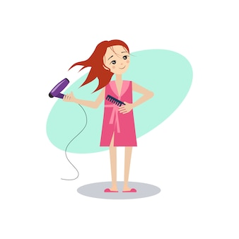 Kobieta susząca włosy.