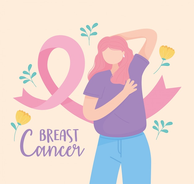 Kobieta świadomości raka piersi metoda palpacyjna różowa wstążka i kwiaty wektor wzór i ilustracja