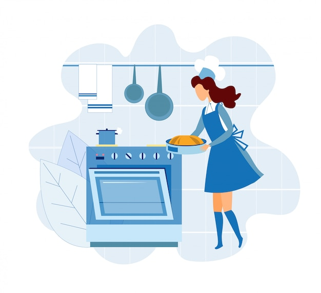 Kobieta szef kuchni bierze ciasto z piekarnika