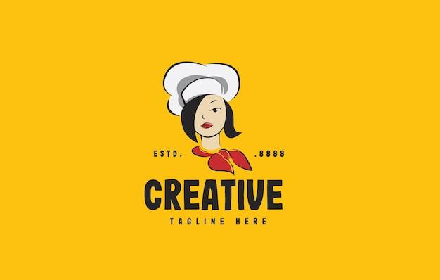Kobieta szef kuchni piękny szablon projektu logo kreskówki